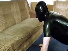 Getting a blow job in rubber shirt, leather panties & Nike Shox tube porn video