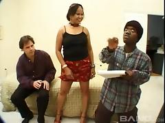 Chubby dame gives in to a thorough interracial fucking by two studs tube porn video