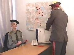 Military officers fucks his sexy secretary on her desk tube porn video