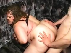 BBW fucked in the ass screams like a pig tube porn video