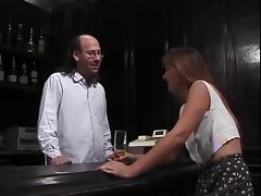 Mature brunette sucks hairy bartenders hard pole then gets fucked tube porn video