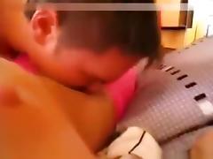 Skinny brunette girl homemade sextape with condom tube porn video