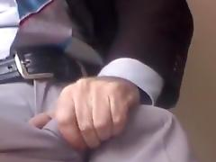 DRESS JERKING IN OFFICE-SPUNK FLOW IN CLASSIC GREY SUITPANTS tube porn video
