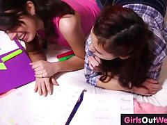 Hairy lesbian cuties fuck during lesson of French tube porn video