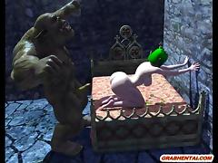 3D anime Orc fucking busty Elf tube porn video