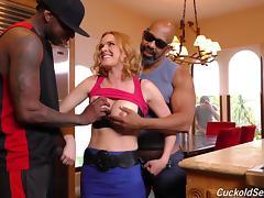 Two big black boners fuck cheating wife Krissy Lynn tube porn video