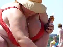 Russian BBW Mature Big Boobs on beach! Amateur! tube porn video