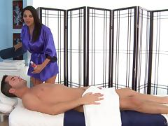 No massage can go without a hot blowjob from this brunette tube porn video