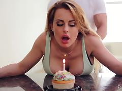 Birthday girl with big titties gets bent over and fucked good tube porn video