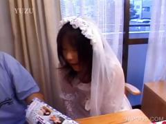 Asian in bride dress shows butt upskirt tube porn video