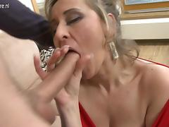 Sexy real stepmother fucking and sucking in POV style tube porn video
