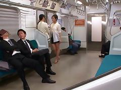 Japanese cock sucking sluts love getting nasty in public transport tube porn video