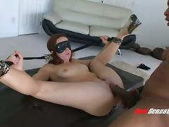 Blindfolded sub slut fucked anally by a huge black dick tube porn video