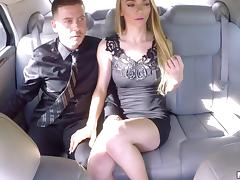On their date in the back of their limo a guy creampies a hot girl tube porn video