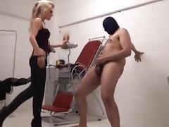 Blonde mistress tortures slave balls tube porn video