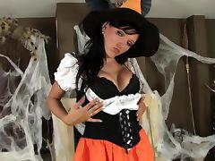 Brunette in fishnets and stilettos for Halloween tube porn video