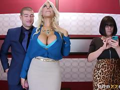 Stuck in the elevator and fucking a big tits blonde tube porn video