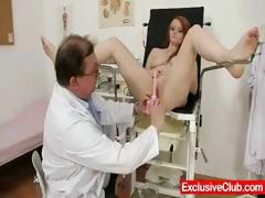Redhead Samantha checked by kinky gyno doctor tube porn video