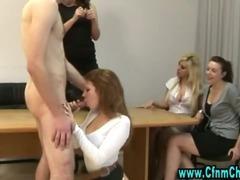 Cfnm stockings fetish bitch sucks on cock tube porn video