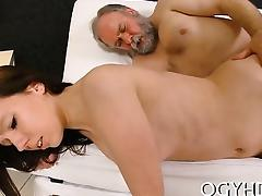 Fascinating young babe gives a ardent ride to an old crock tube porn video