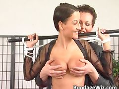 Sexy MILF in stockings gets her tits tube porn video