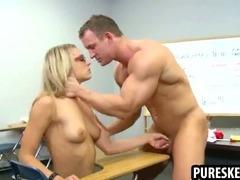Blonde schoolgirl in glasses sucks a hard cock tube porn video