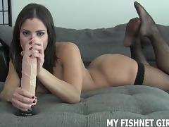 Run your hand up my sexy fishnet stockings JOI tube porn video