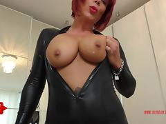 German Redhead JolyneJoy played so dirty in a Catsuit tube porn video