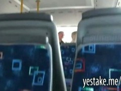 Guy films a chick sucking and riding on a dick in moving bus tube porn video