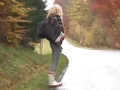 Young hitchhiker gets fucked in the wood tube porn video