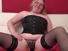 Corset and stockings are super hot on this curvy mama tube porn video