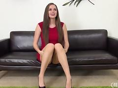 Tori Black is mind blowing in a tight red dress and lipstick tube porn video