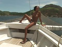 On a boat with a skinny Brazilian he fucks in the ass tube porn video