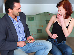 TrickyOldTeacher - Redhead tempts teacher and sucks cock and fucks him to pass class today tube porn video
