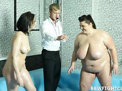 BBW beats a curvy girl in a wrestling match and fucks the ref tube porn video