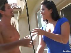 Sexy London Keyes gets fucked on the kitchen counter tube porn video