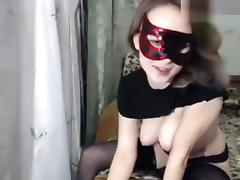 Touch-Me-Not: a naked chick in black stockings tube porn video