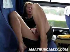 Girlfriend masturbates on a crowded tube porn video