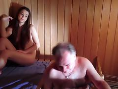 Amazing Beautiful Teen is Fucking an Old Man in The Sauna tube porn video