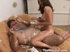Fat guy and his cute lady covered in food as they fuck tube porn video