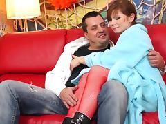 Cute redhead fucks in sexy bodystocking tube porn video