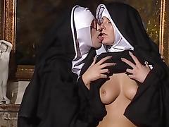 Lesbian Nuns lick each other tube porn video