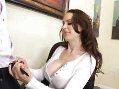 Her big fake titties are breathtaking in an office fuck scene tube porn video