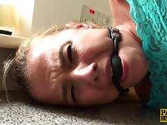 Gagged cutie fucked in her slutty mouth and tight pussy tube porn video
