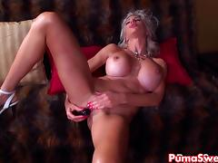 Euro Blonde Puma Swede Gets off with Bejeweled Dildo! tube porn video