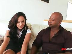 Sassy pornstar face fucking a big black cock then gets drilled missionary tube porn video