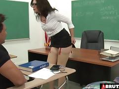 Slutty teacher does a double anal fuck with her students tube porn video