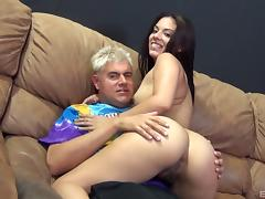 Slick ass chick and a dude with a big cock fucking passionately tube porn video