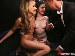 Two passionate ladies are glad to share the stiff pecker together tube porn video