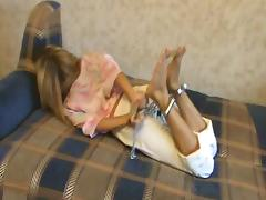 Handcuffed and hogtied girl tube porn video